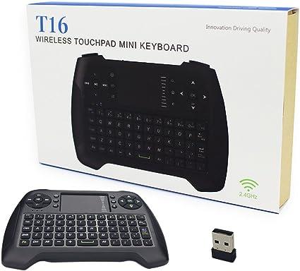 Mini teclado inalámbrico Touchpad Ratón Combo T16 azul retroiluminación teclado y # xFF0 C; 2,4 gHz Control remoto teclado para Smart TV, HTPC, IPTV, Android TV Box, Xbox360, PS3, PC: Amazon.es: Electrónica