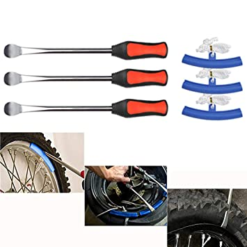 YOTINO Desmontadores de Neumático Kits 3Pcs Palanca de Neumáticos Extracción 3Pcs Palanca de Neumáticos Protector Reemplazo de Llantas para Motos y ...