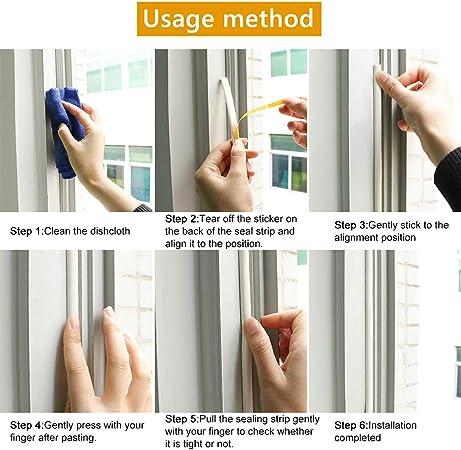 Burlete de ventana tipo D autoadhesivo EPDM burlete de puerta ventana burlete tira de espuma sellado insonorizante Avoidance goma burlete 9 mm x 6 mm x 12 m color blanco