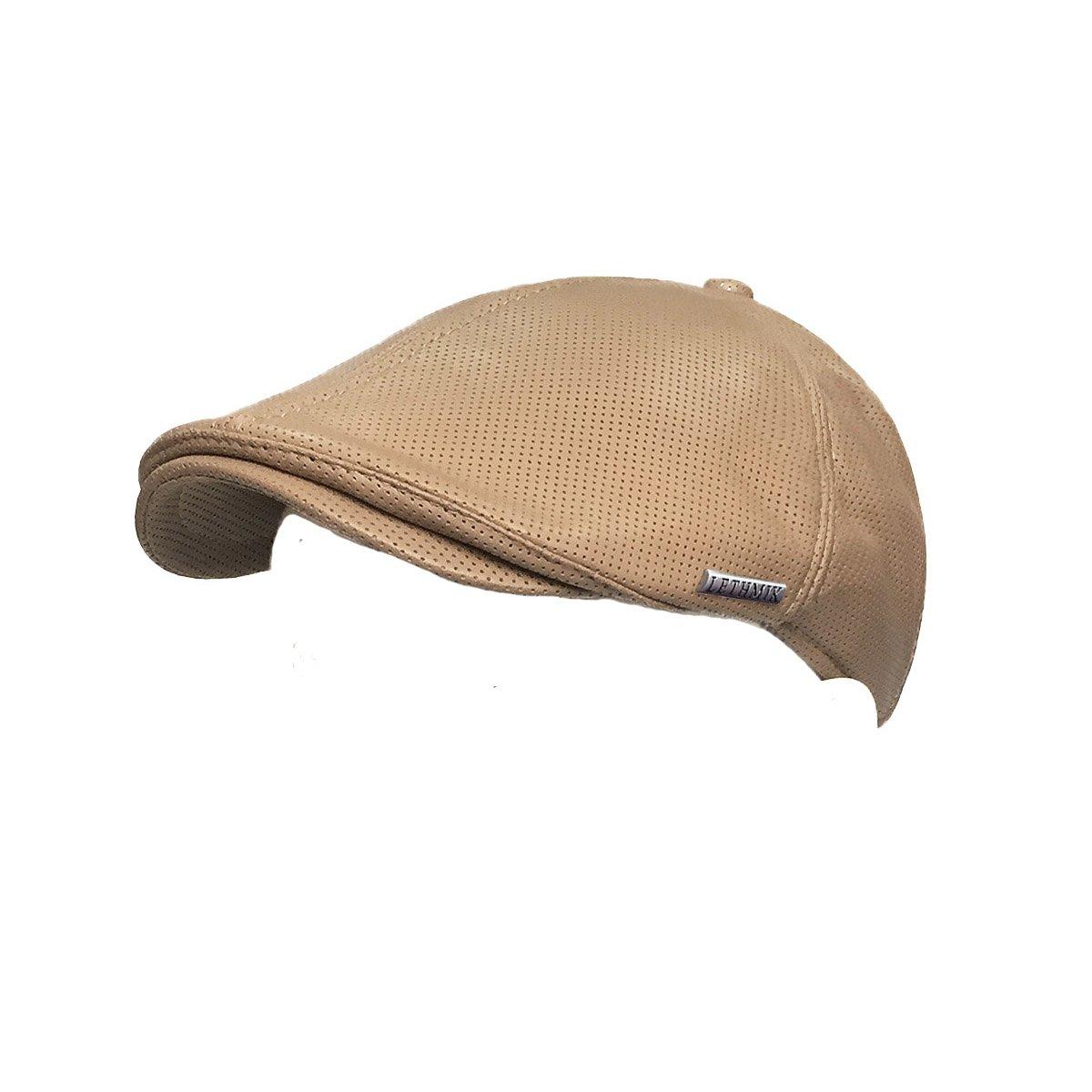 53745f15d7e87 LETHMIK Vintage Flat Hat Ivy Irish Hats Gatsby Newsboy Cap Cabbie Hat  Stretch Beige Holes at Amazon Men s Clothing store