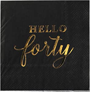 Andaz Press Black with Gold Scripted Hello Forty Saying Cocktail Napkins, Bulk 100-Pack Count 3-Ply Disposable Fun Beverage Napkins for 40th Birthday, 40th Anniversary Party Supplies, Decorations