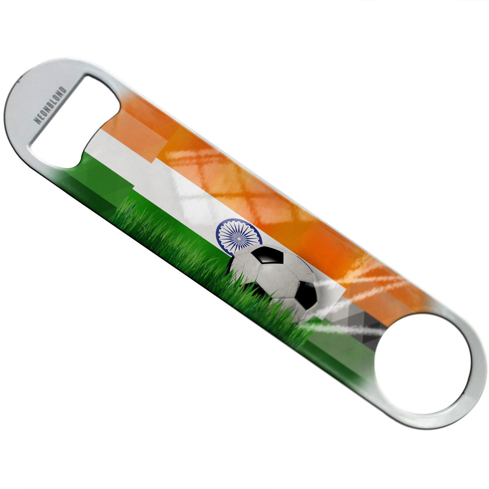 NEONBLOND Soccer Team Flag India Flat Beer Bottle Opener Heavy Duty Bartender
