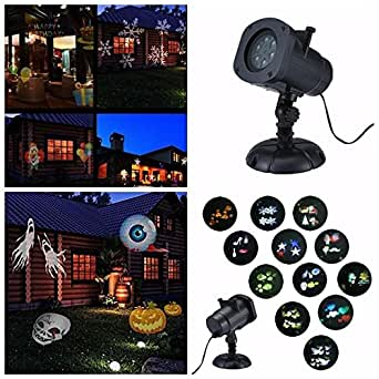 Halloween Christmas LED Projector Light, niceEshop(TM) Waterproof Landscape Spotlight with 12 Switchable Slides for Christmas Halloween Birthday Wedding Party Garden Decoration