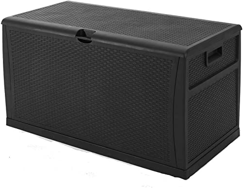 SUNCROWN Deck Box Outdoor Wicker Storage Patio Furniture Imitation Rattan Container Cabinet 120-Gallon, Black