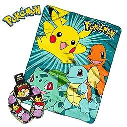 Pokemon Plush Kids Airplane Flight Car Travel Cute Micro beads U Neck Support Pillow & Throw Blanket - Meowth Squritle Jiggypuff Bulbasaur Pikachu Pokeball Charmander Snorlax