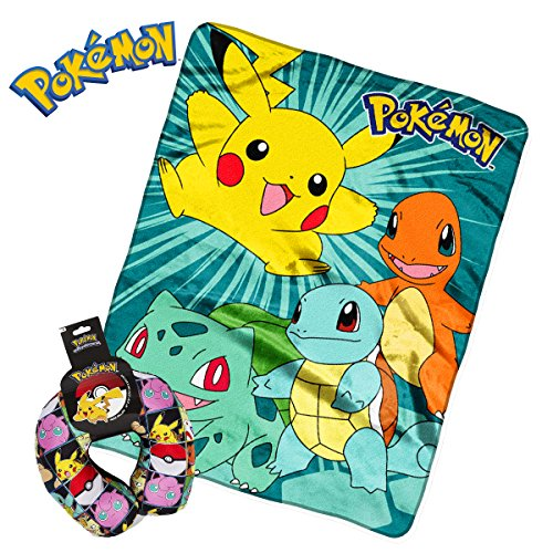 Pokemon Plush Kids Airplane Flight Car Travel Cute Micro beads U Neck Support Pillow & Throw Blanket - Meowth Squritle Jiggypuff Bulbasaur Pikachu Pokeball Charmander Snorlax (Omega Bracelets Platinum)