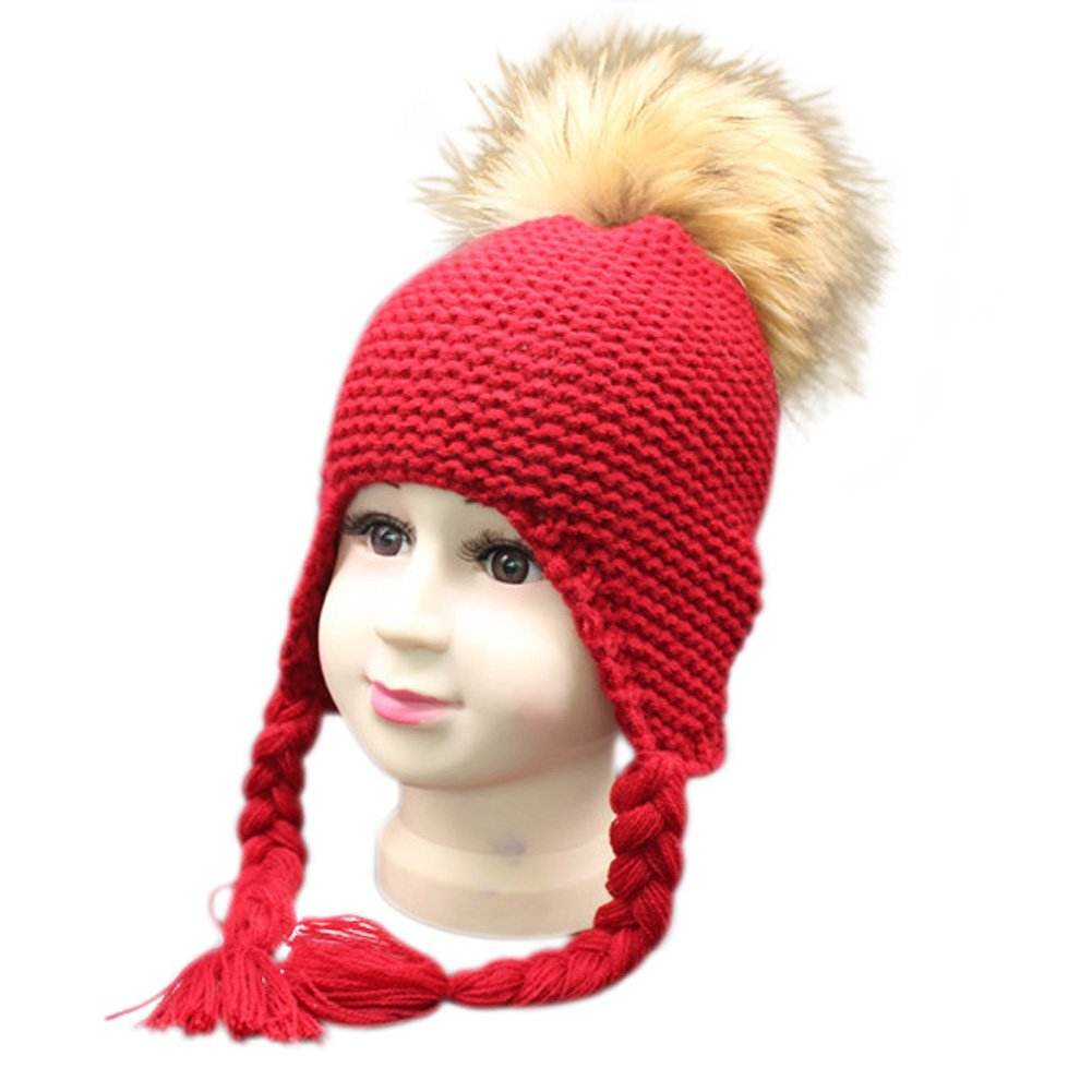 Childrens Unisex Outdoor Warm Stylish Winter Beanie Hat with Detacahable Pom Pom Made with Real Fur