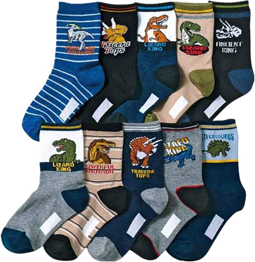 Kids Boys Cartoon Dinosaurs Pattern Sport Socks 10 Pairs
