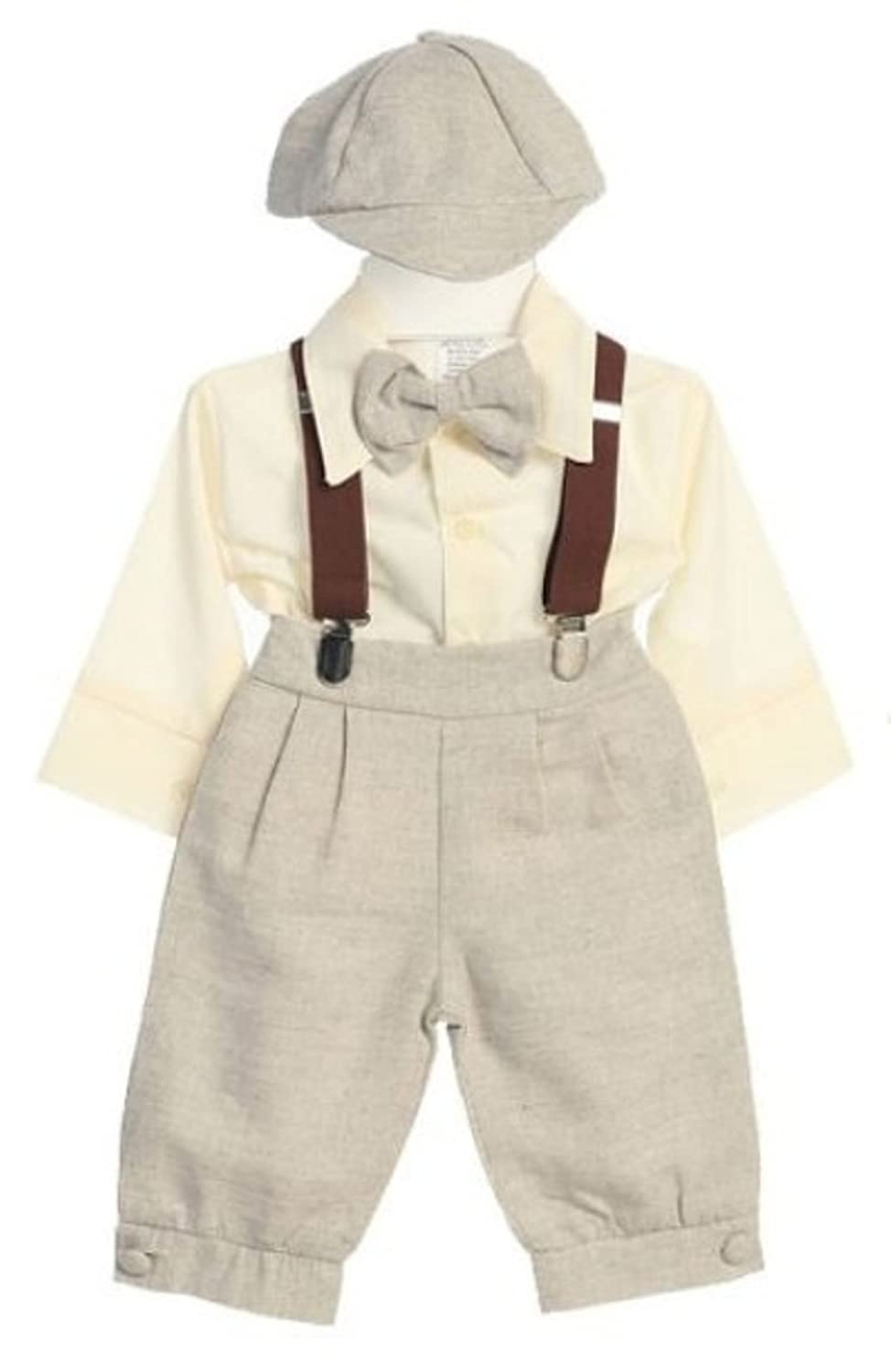 9 Months Infant and Toddler Linen Solid Tan 5 Piece Knicker Set