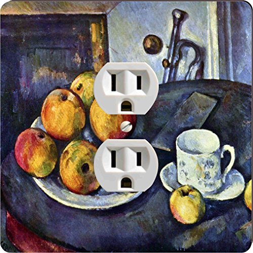 Rikki Knight 3131 Outlet Paul Cezzane Art Still Life Bottle & Apple Cart Design Outlet Plate by Rikki Knight