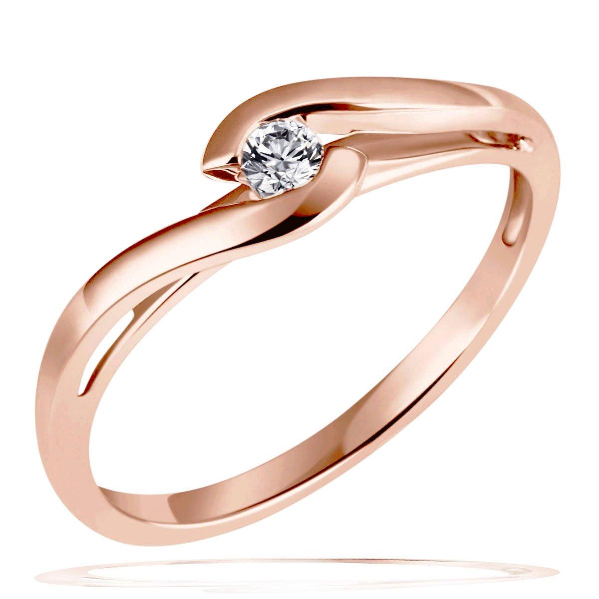 Goldmaid Damen Ring Solitar Verlobungsring 585 Rotgold 1 Brillant 0