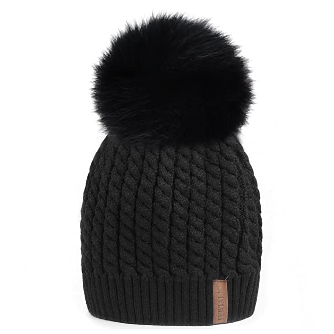 Winter Beanie Hats for Women FURTALK Womens Warm Knit Fur Bobble Pom ... 844f2d8195d