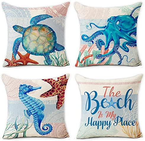 Hexagram Ocean Theme Summer Pillow Covers 18 X 18 Inch Set Of 4 Blue Sea Turtle Beach Pattern Soft Cotton Linen Throw Pillow Cover Cushion Case For Couch Sofa Living Room Indoor