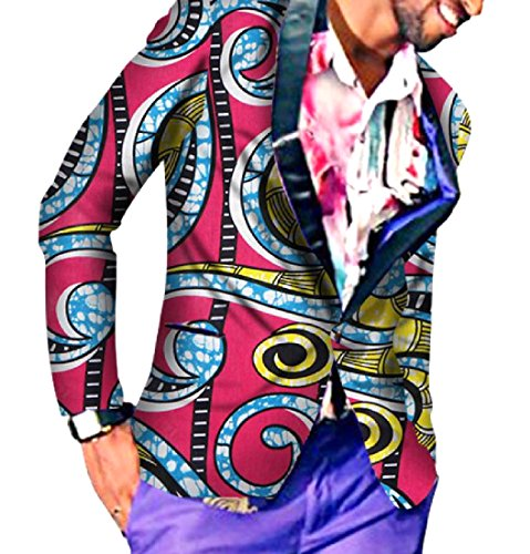 Abetteric Men's Padded African Style Modern Fit One Button Tuxedo Suit 2 2XL ()