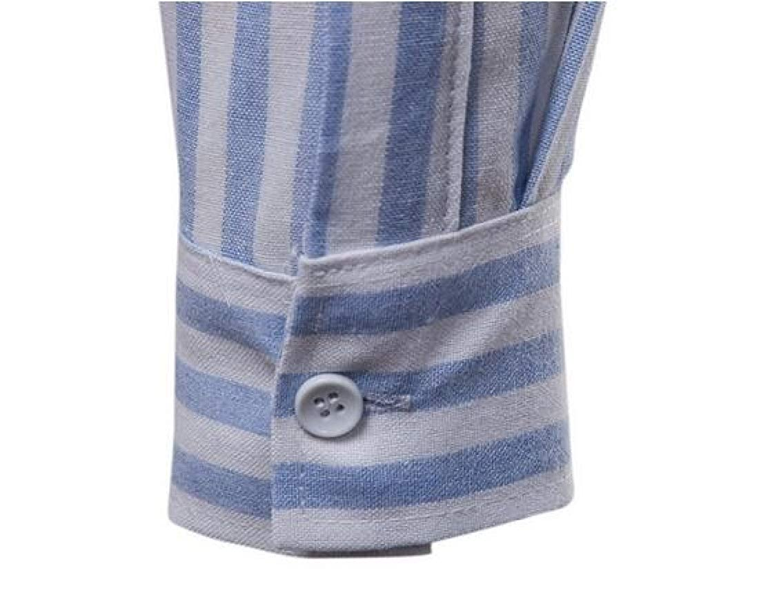 Domple Mens Stripe Print Regular Fit Long Sleeve Button Up Pockets Dress Shirts