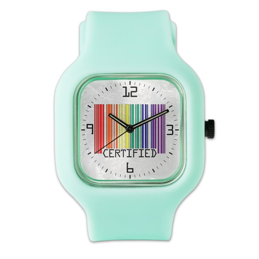 SeaFoam Fashion Sport Watch Gay Certified Pride Bar Code by Royal Lion (Image #1)
