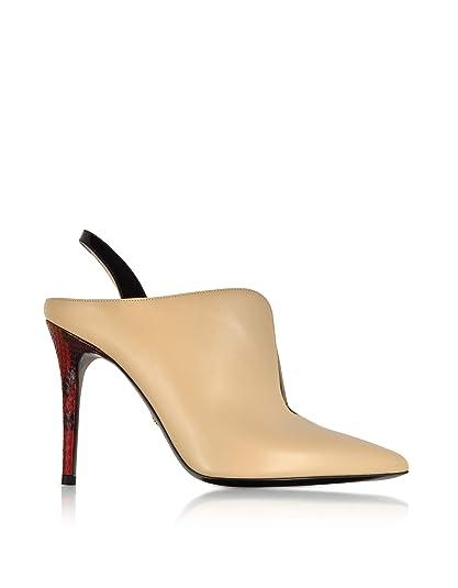 2e4d430342985 Roberto Cavalli Women's HKS411UC172D0118 Beige Leather Heels: Amazon ...