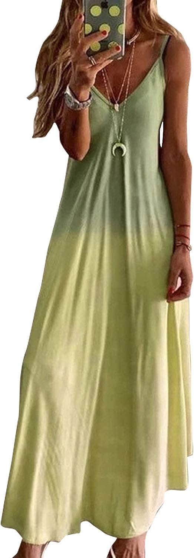 LAIKETE Donna Vestito Lungo Estivi Cravatta Dye Abito da Sling Senza Manica Casual Elegante Sfumatura Colorato Cocktail Spiaggia Sera Maxi Vestiti