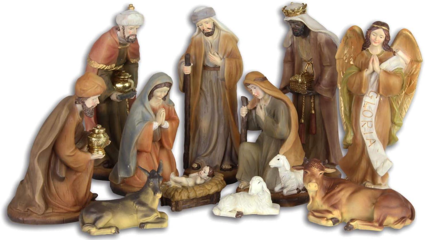 Set of 11 crib figures christmas nativity set animal handpainted antique style