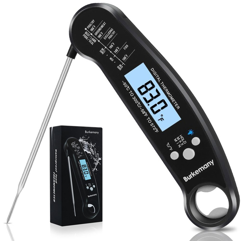 Burkemany Instant Read Meat Thermometer - Best Waterproof Ultra Fast Thermometer with Backlight & Calibration. Digital Food Thermometer for Kitchen, Outdoor Cooking, BBQ, and Grill!