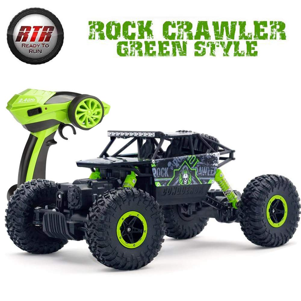 SZJJX RC Car Truck 2.4Ghz 4WD Powerful 1:18 Off-Road Climbing Radio Remote Control Cars Rock Crawler Buggy Hobby Electric Vehicle Fast Race Toy for Kids Gift -Green