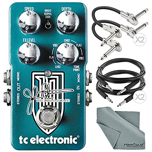 TC Electronic Dreamscape John Petrucci Signature Multi-Effects Pedal and Accessory Bundle w/ Cables & Fibertique Cleaning Cloth by Photo Savings