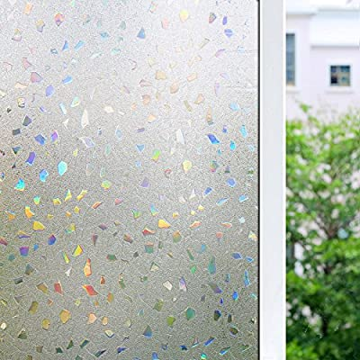 3D Frosted Decorative Window Film No Glue, Window Decal Glass Film/Privacy Protection/Heat Control/Anti UV, Stained Glass Static Cling for Kitchen/Bedroom/Livingroom, 17.7x78.7 inch Gem