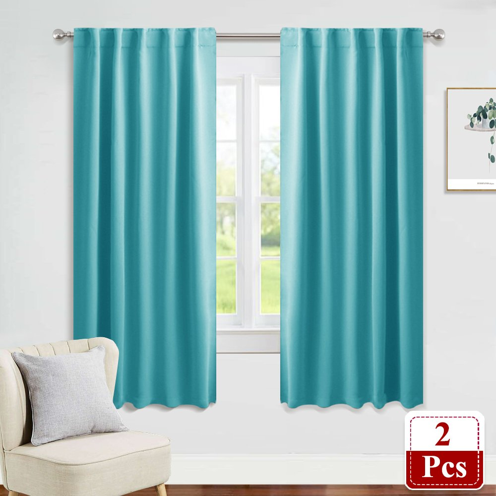 PONY DANCE Window Treatments Drapes - Blackout Curtains Home Decoration Back Tab/Rod Pocket Room Darkening Curtain Panels Privacy Protect Living Room, 42'' W x 72'' L, Turquoise, 1 Pair