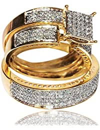 1cttw Diamond Yellow Gold Trio Wedding Set His and Her Rings Set (I2, I/j)