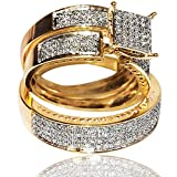 1cttw Diamond Yellow Gold Trio Wedding Set His and Her Rings Set (I2, I/j)