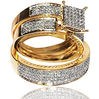 1cttw diamond yellow gold trio wedding set his and her rings set i2 i - Trio Wedding Rings