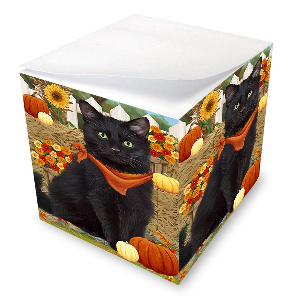 Fall Autumn Greeting Black Cat with Pumpkins Note Cube NOC52310