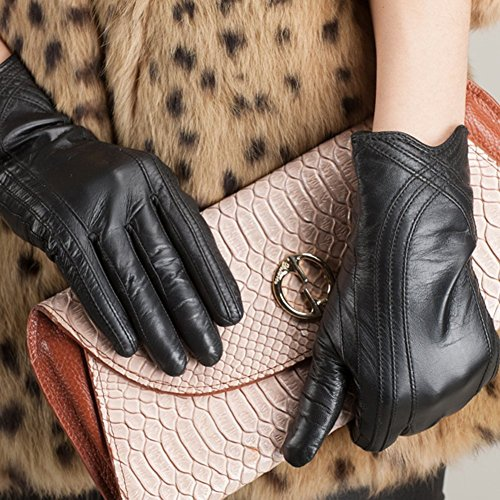 Nappaglo Nappa Leather Gloves Warm Lining Winter Handmade Curve Imported Leather Lambskin Gloves for Women (XL, Black) by Nappaglo (Image #2)