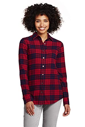 a57c2140bb6 Lands' End Women's Flannel Shirt at Amazon Women's Clothing store: