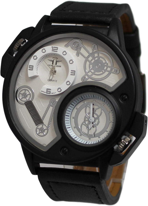 Giorgio & Dario - Reloj de pulsera para hombre, caja grande, acero, 3 esferas: Amazon.es: Relojes