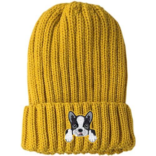 Q-Beans [ Boston Terrier ] Cute Embroidered Puppy Dog Warm Knit Fleece Winter Beanie Skull Cap [ Yellow ] (Terrier Womens Cap)