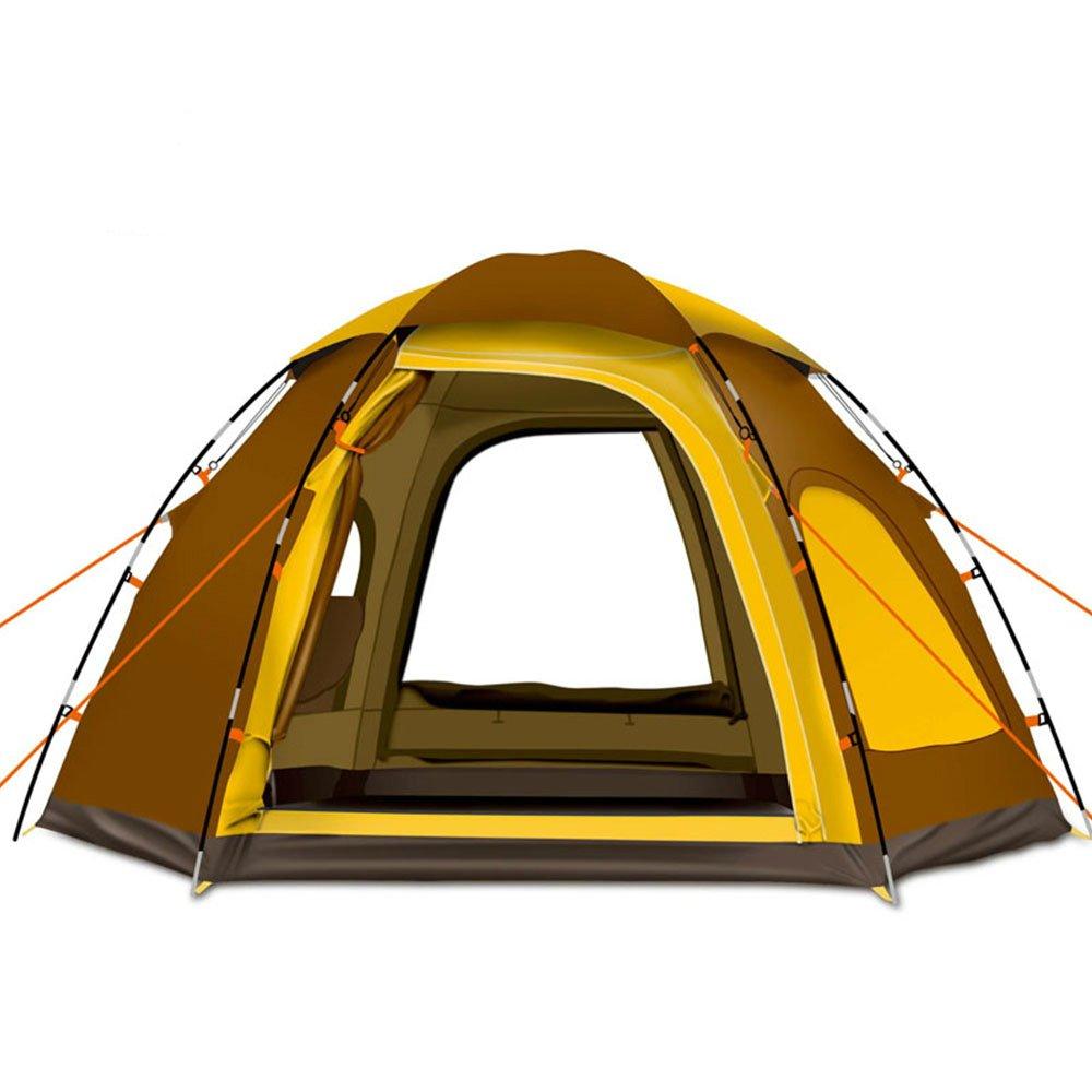 Yongtongバックパッキングテント、ビッグサイズ4 – 6人二層テント、自動Pop Up、2ドア2 Windows、紫外線対策防風防水、with Carryバッグ、キャンプ/ハイキング/旅行/狩猟  ブラウン B071RP1P9C