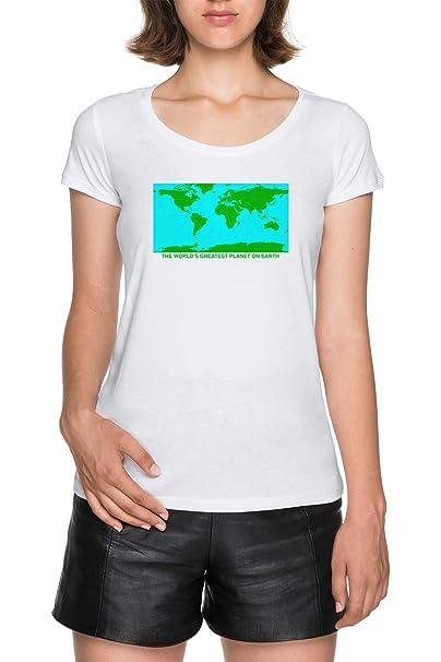 Los Mundos Mayor Planeta En Tierra Mujer Blanco Camiseta Women White T-Shirt tee: Amazon.es: Ropa y accesorios