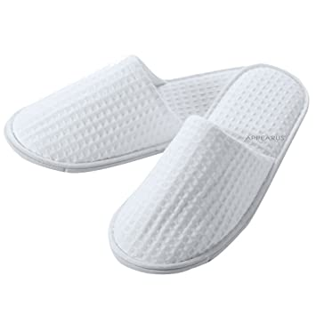 f8c4127c8a0dc 6 Pairs Appearus Premium Cotton Waffle Spa Hotel Slippers, White