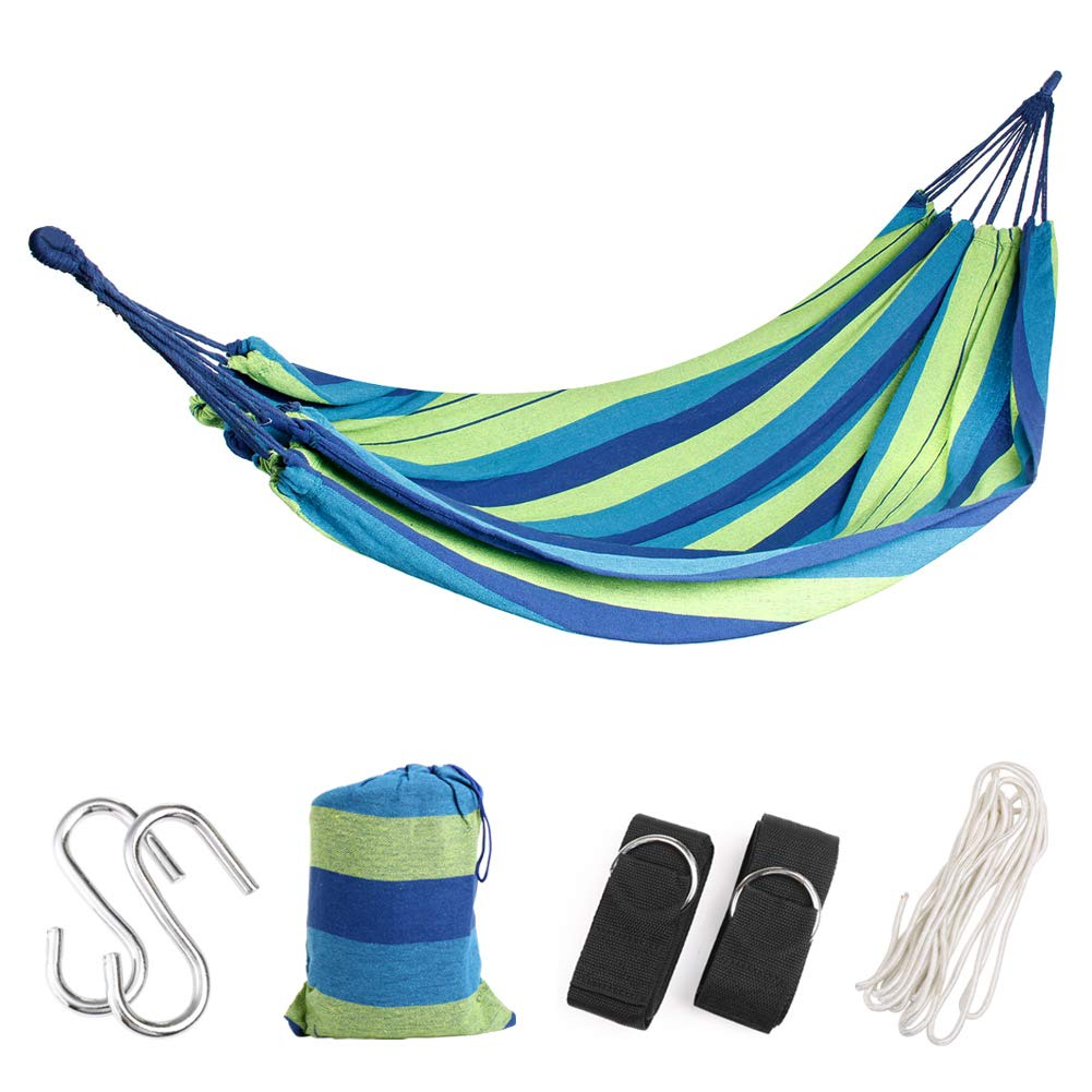 WeHammock Double Camping Hammock with Tree Straps and Rope Soft Woven Cotton with Max 250 lbs Capacity Portable 2 Person Hammock for Indoor Outdoor Backpacking Travel Beach Backyard Hiking