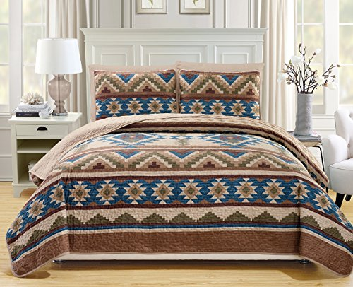 KingLinen 6 Piece Southwest Reversible Bedspread/Quilt with Sheet Set Queen ()
