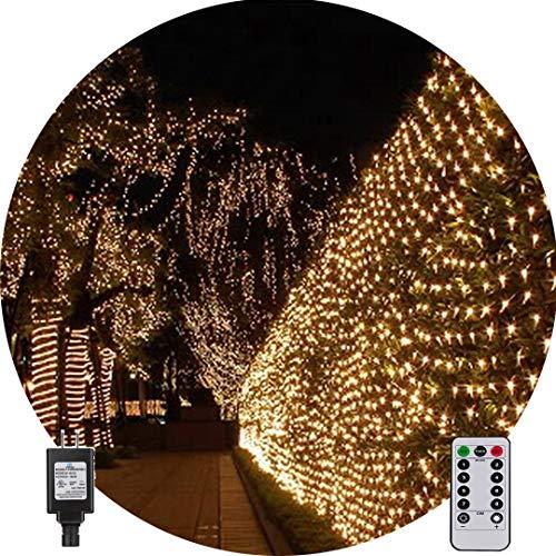 Net String Light Outdoor String Light Garden Tree Mesh Light Twinkle Light 9.8ft x 6.6ft 200LED 8Mode for Tree wrap Lawn backyard Xmas Thanksgiving Decor, Connectable(Warm White) (Trees Net For Outdoor Lights)