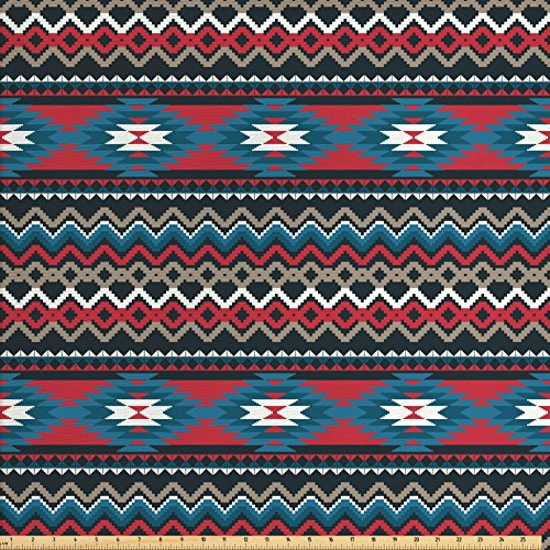 Ambesonne Antique Fabric by The Yard, Primitive Style Folkloric Striped Design Antique Mayan Patterns, Decorative Fabric for Upholstery and Home Accents, Black Blue Coral from Ambesonne