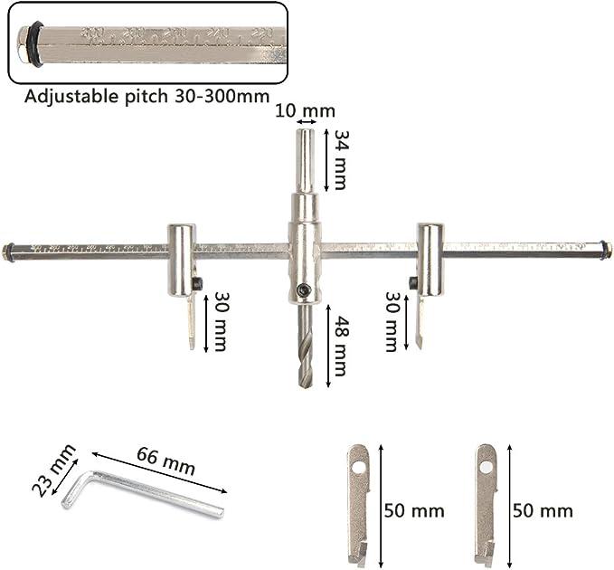 Cortador de agujeros,TANGGER 40-300mm Ajustable Blade Aleaci/ón Aeronave Taladro perforadora el/éctrica de madera,herramientas para carpinter/ía