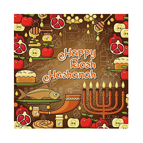 CSFOTO 6x6ft Cartoon Rosh Hashanah Backdrop Jewish New Year Party Background for Photography The Feast of Trumpets Celebration Menorah Pomegranate Apple Honey Flowers Shofar Holiday Photos