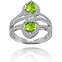 Sterling Silver Peridot and White Topaz Heart Halo Friendship Ring