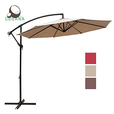 COBANA 10 Ft Patio Umbrella Offset Hanging Umbrella Outdoor Market Umbrella  Garden Umbrella, 250g/