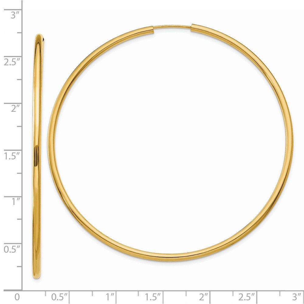 60mm x 2mm Mia Diamonds 14k Yellow Gold Polished Round Endless 2mm Hoop Earrings