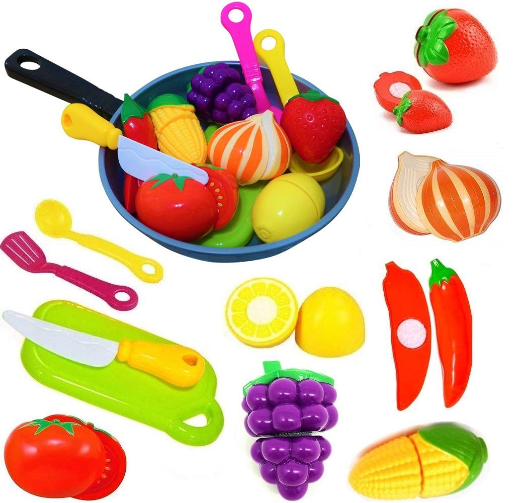 Cut Play Food Kitchen Accessories Set for Kids - Cutting Toy Fruits and Vegetables - Cooking Pot - Toy Knife & Cutting board - Play Utensils - Toddlers, Boys & Girls Fake Food Pretend Playset by FUNERICA