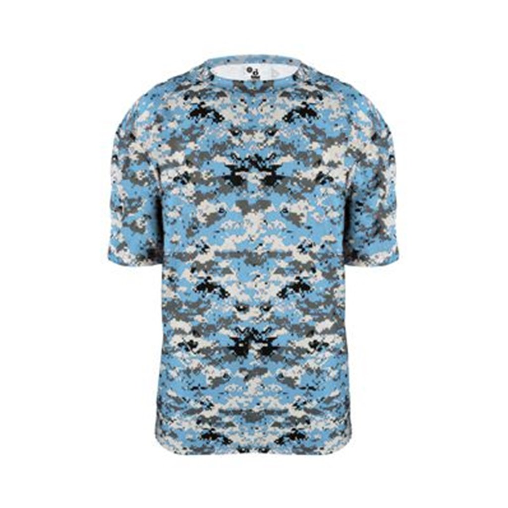 Badger Sport Youth Digital Camouflage Tee (X-Small, Columbia Blue Digital)
